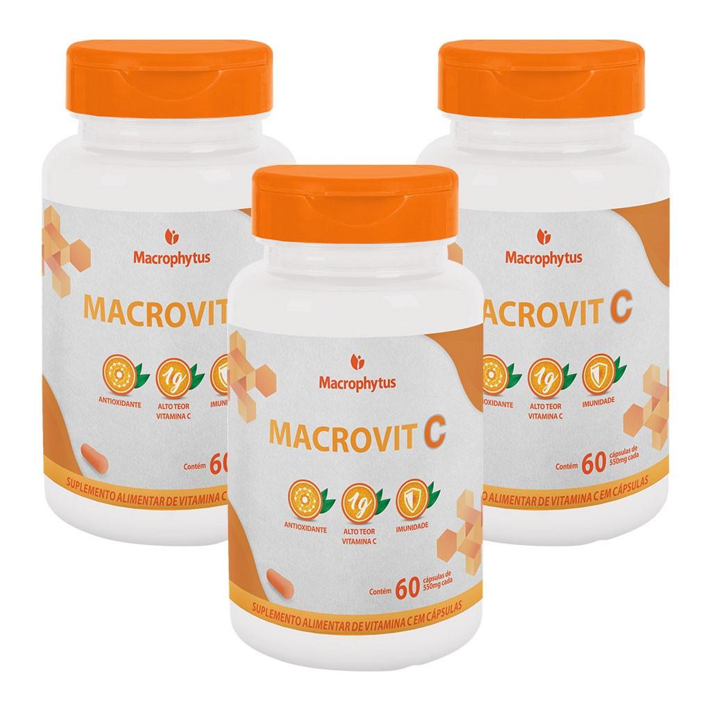 Kit 3 Macrovit C 1g 60 cápsulas