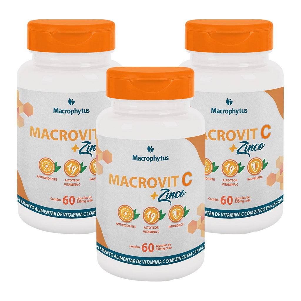 Kit 3 Macrovit C + Zinco 1g 60 cápsulas