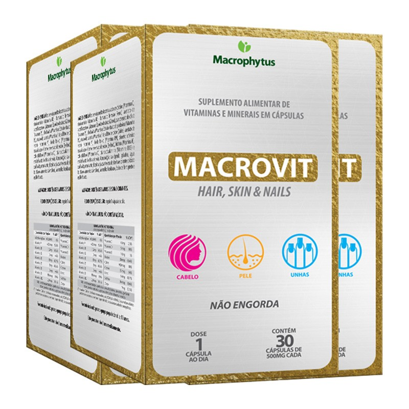 Kit 3 Macrovit Hair, Skin & Nails 500mg 30 cápsulas