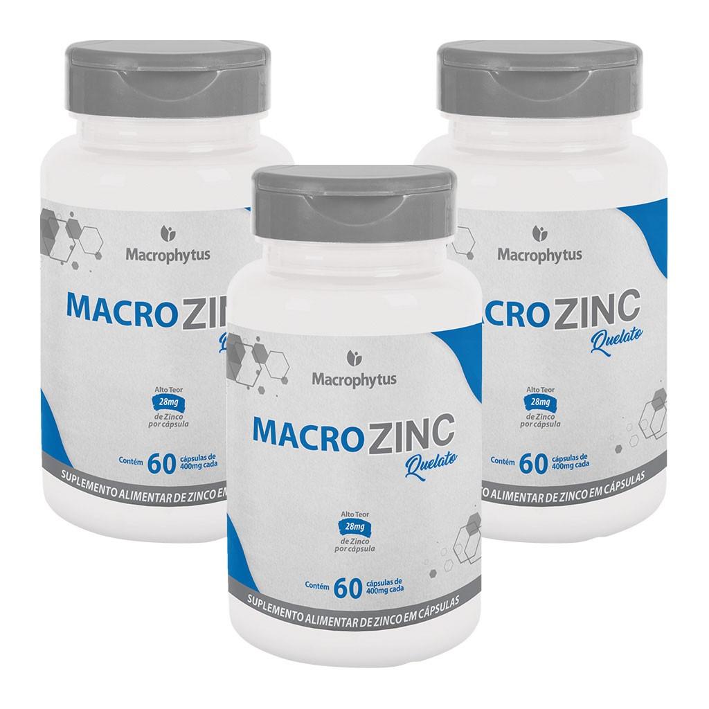 Kit 3 MacroZinc (Zinco) 400mg 60 cápsulas