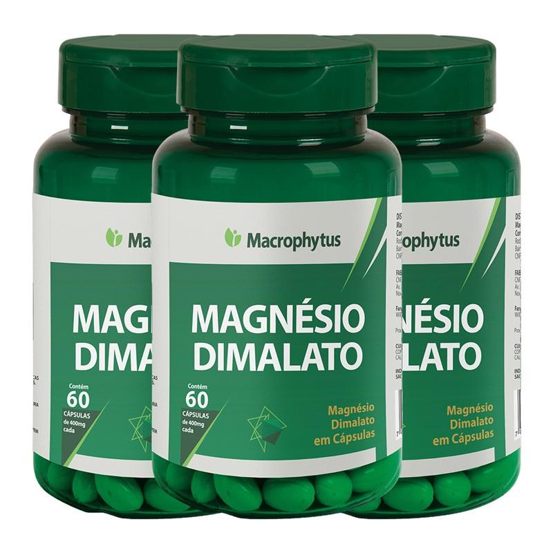 Kit 3 Magnésio Dimalato 400mg 60 cápsulas