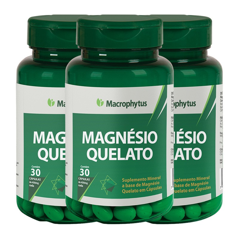 Kit 3 Magnésio Quelato 450mg 30 cápsulas