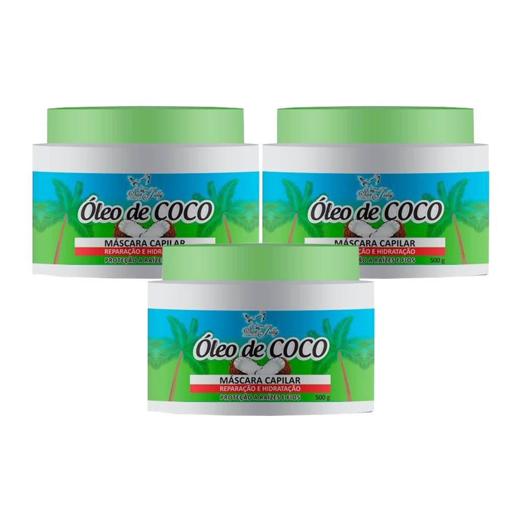 Kit 3 Máscara Capilar Óleo de Coco 500g