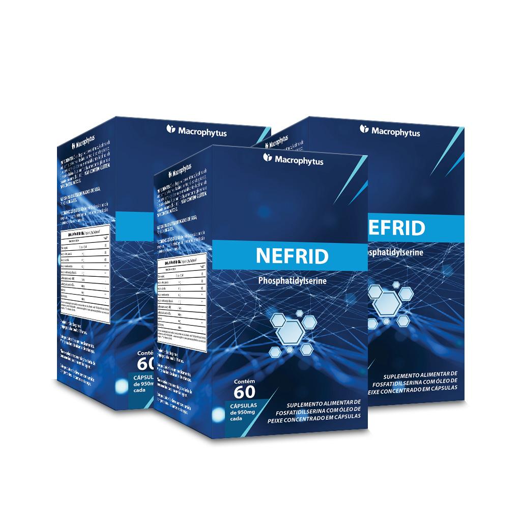 Kit 3 Nefrid Fosfatidilserina + Ômega 3 950mg 60 cápsulas