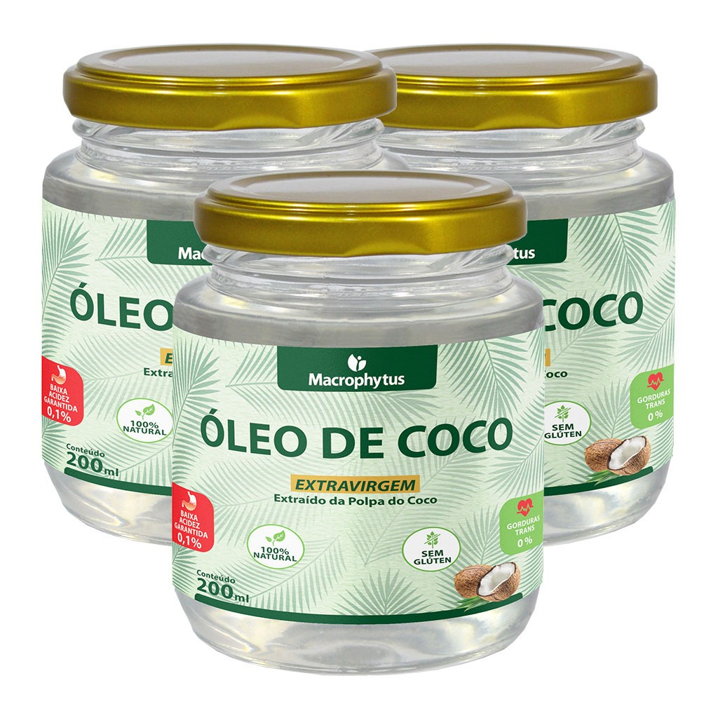 Kit 3 Óleo de Coco Extravirgem 200ml