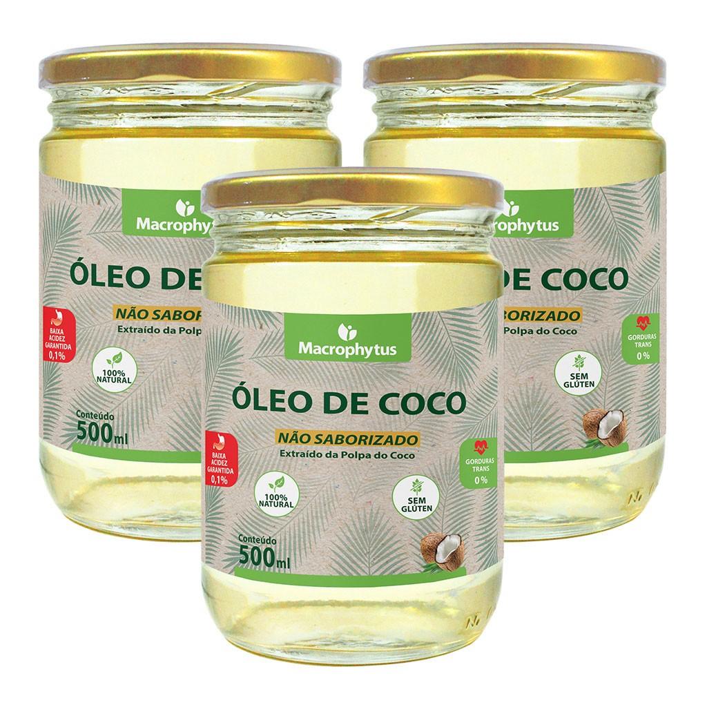 Kit 3 Óleo de Coco Não Saborizado 500ml