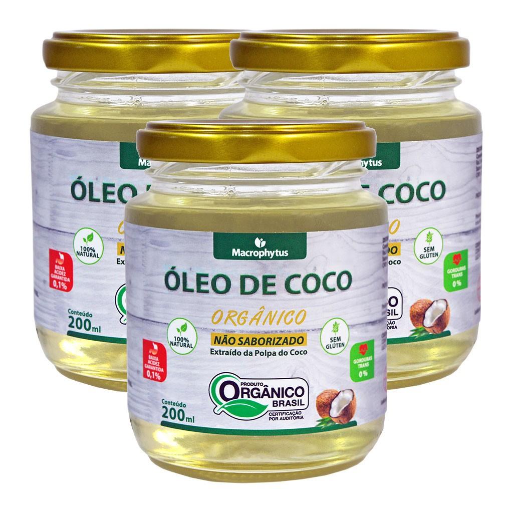 Kit 3 Óleo de Coco Não Saborizado Orgânico 200ml