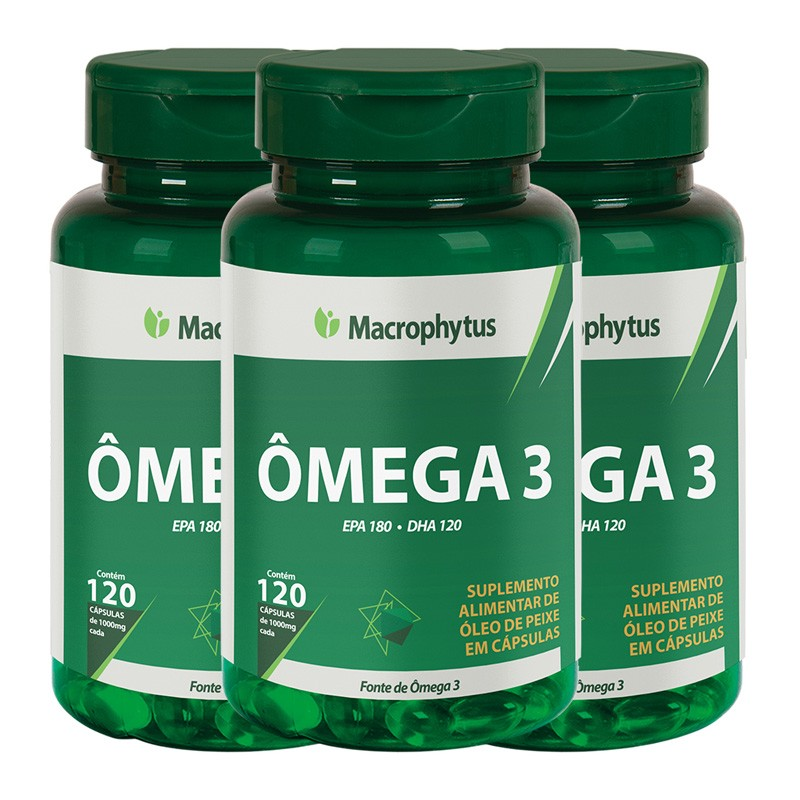 Kit 3 Ômega 3 1000mg 120 cápsulas