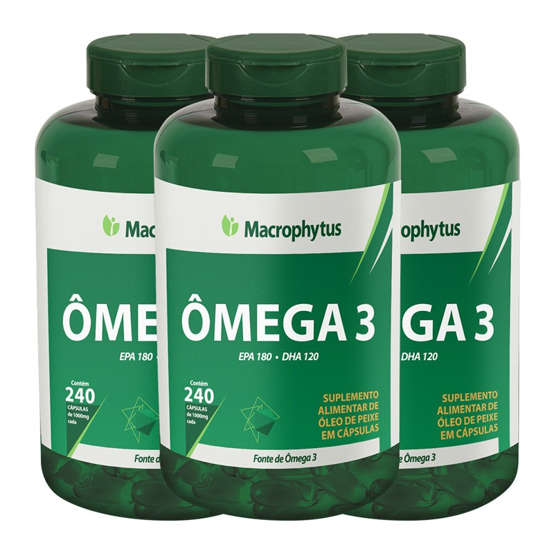 Kit 3 Ômega 3 1000mg 240 cápsulas