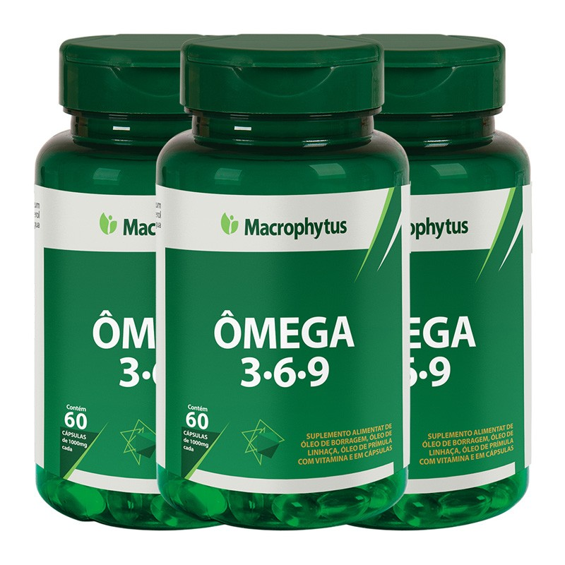 Kit 3 Ômega 3-6-9 1000mg 60 cápsulas
