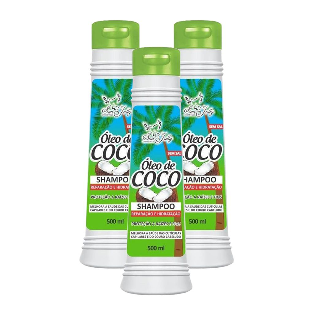 Kit 3 Shampoo Óleo de Coco 500ml