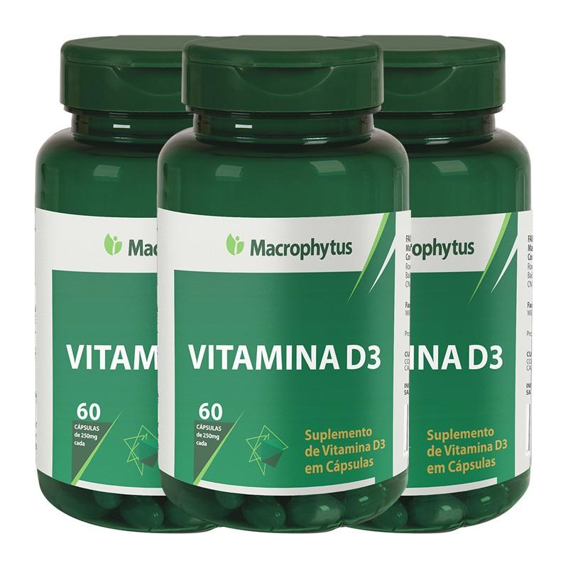 Kit 3 Vitamina D3 250mg 60 cápsulas