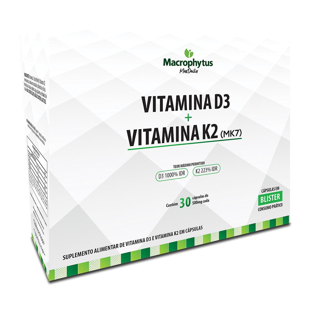 Vitamina D3 + Vitamina K2 (MK7) 500mg 30 cápsulas (Blister)