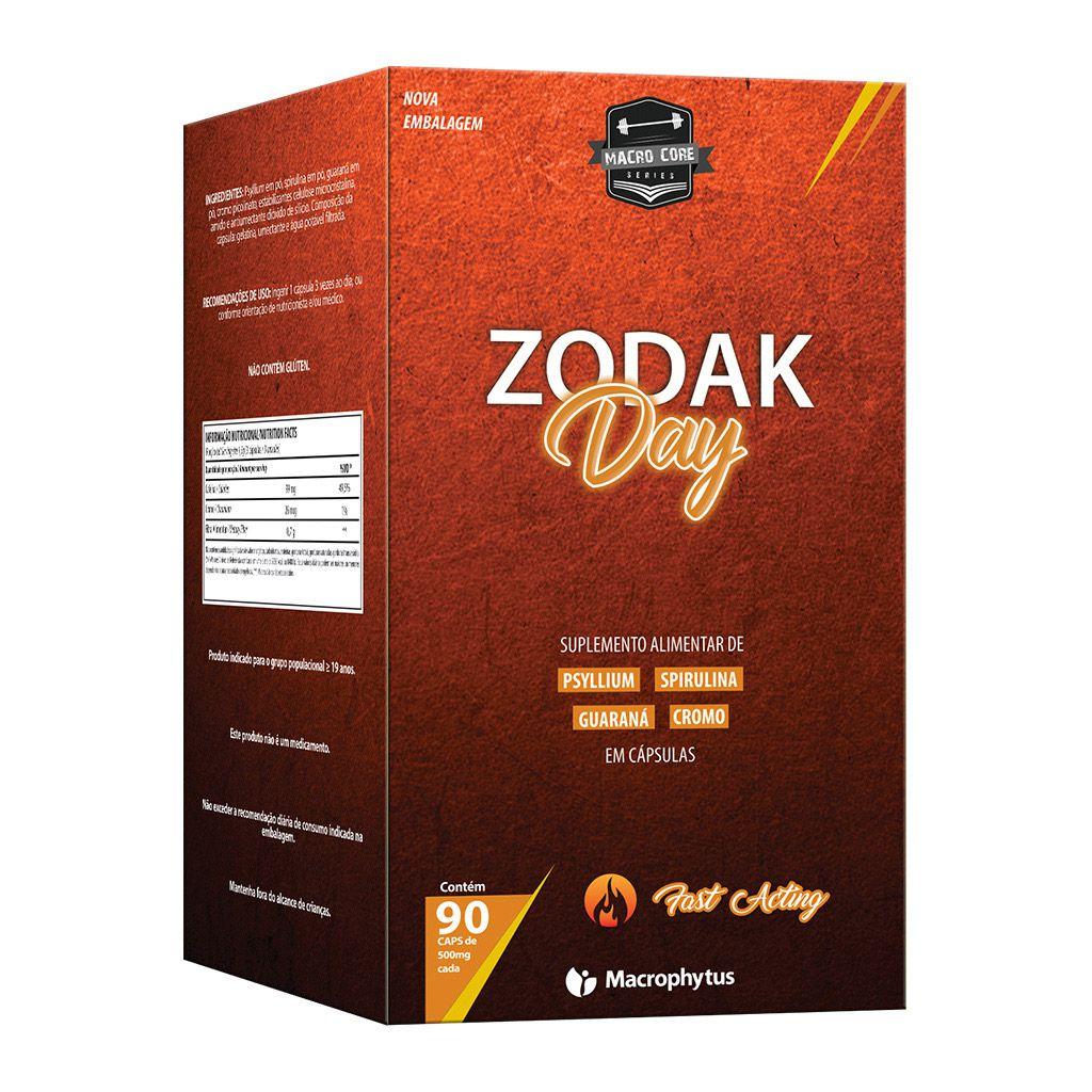 Zodak Day 500mg 90 cápsulas (psyllium + spirulina + guaraná)