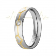 Aliança Aço Love Beat Shine 5mm com Filete Gold IPG e Zircônia