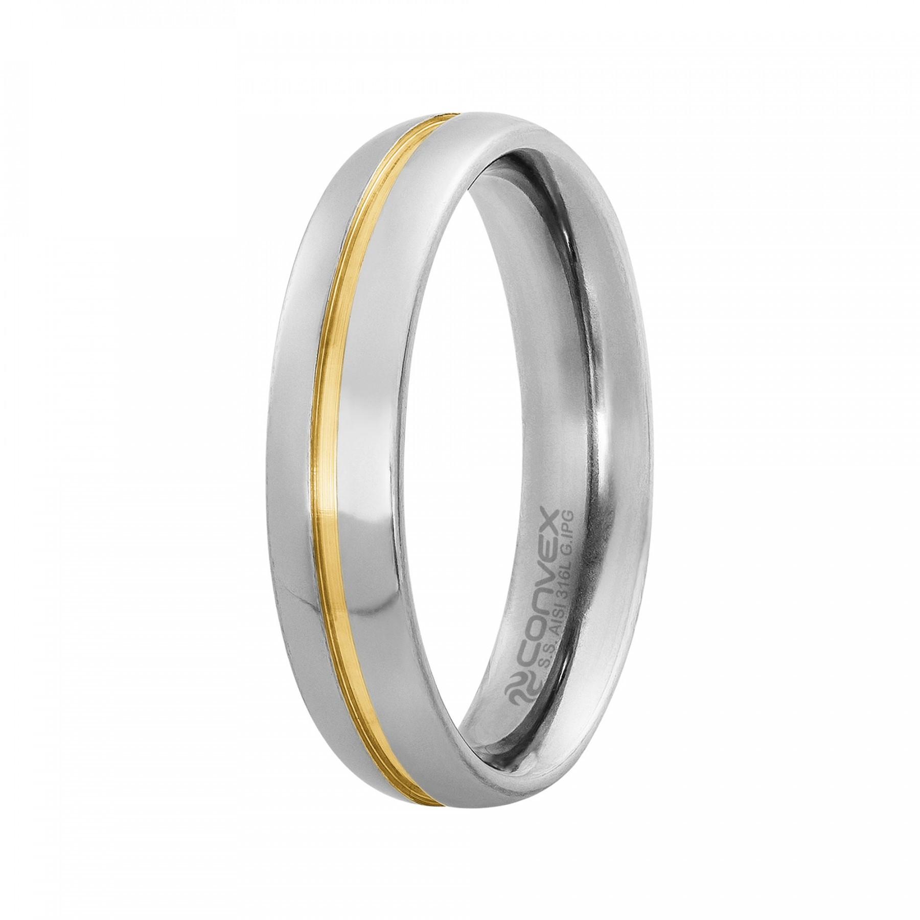 Aliança Aço Milão 5mm com Filete Central Gold IPG