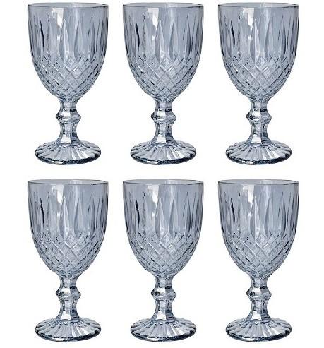 Conjunto 6 Taças de vidro para Agua Greek Cinza 345ml