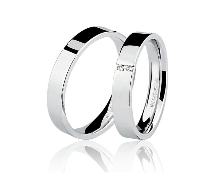 Par de Alianças Casamento Ouro Branco 18k Anatômica  4,3mm