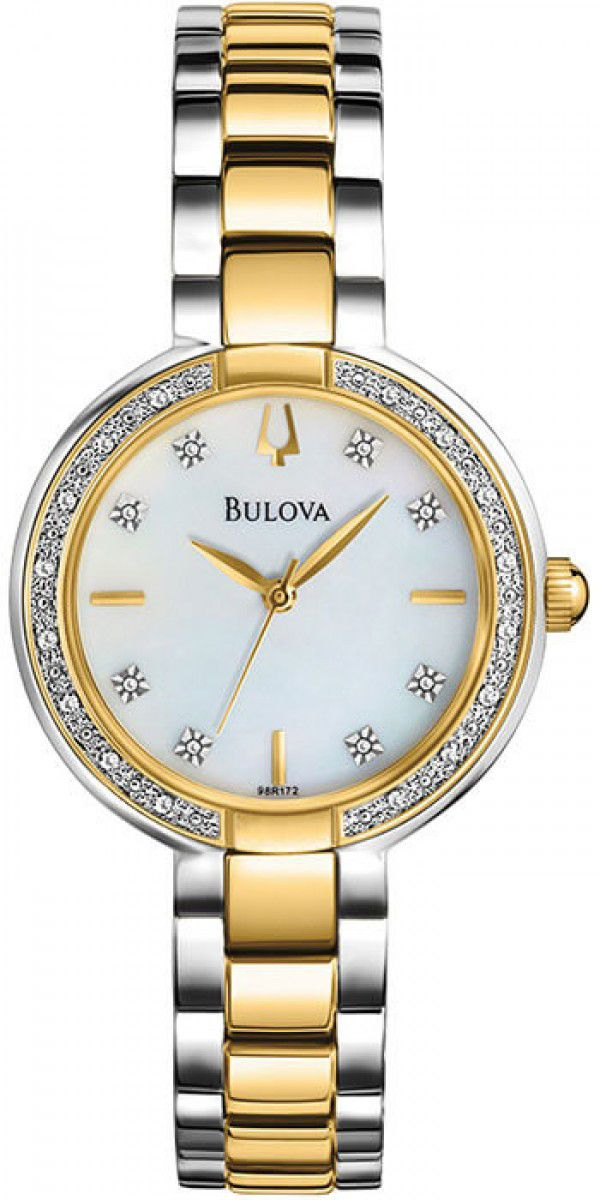 RELÓGIO BULOVA DIAMONT WB27976B DIAMANTES PRATA E DOURADO FEMININO ORIGINAL