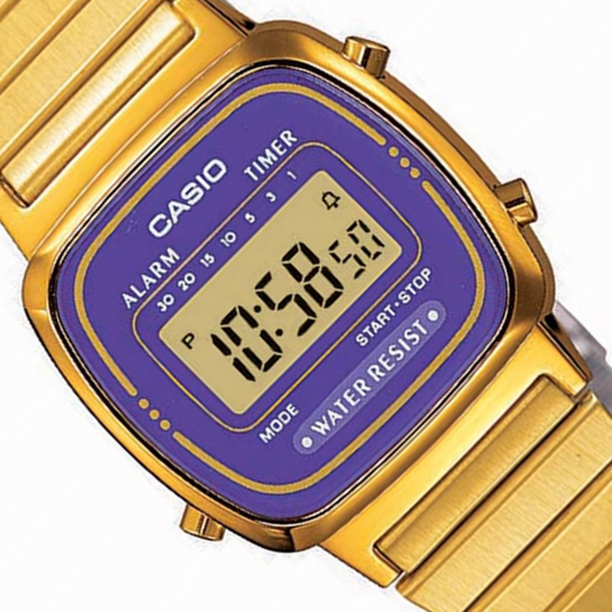 Relógio Casio Social Feminino Dourado Digital La670Wga-6Df