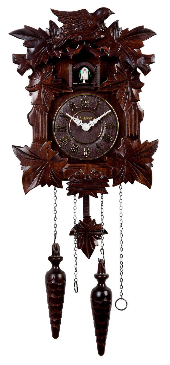 Relógio De Parede Cuco Musical Quartz Madeira Herweg