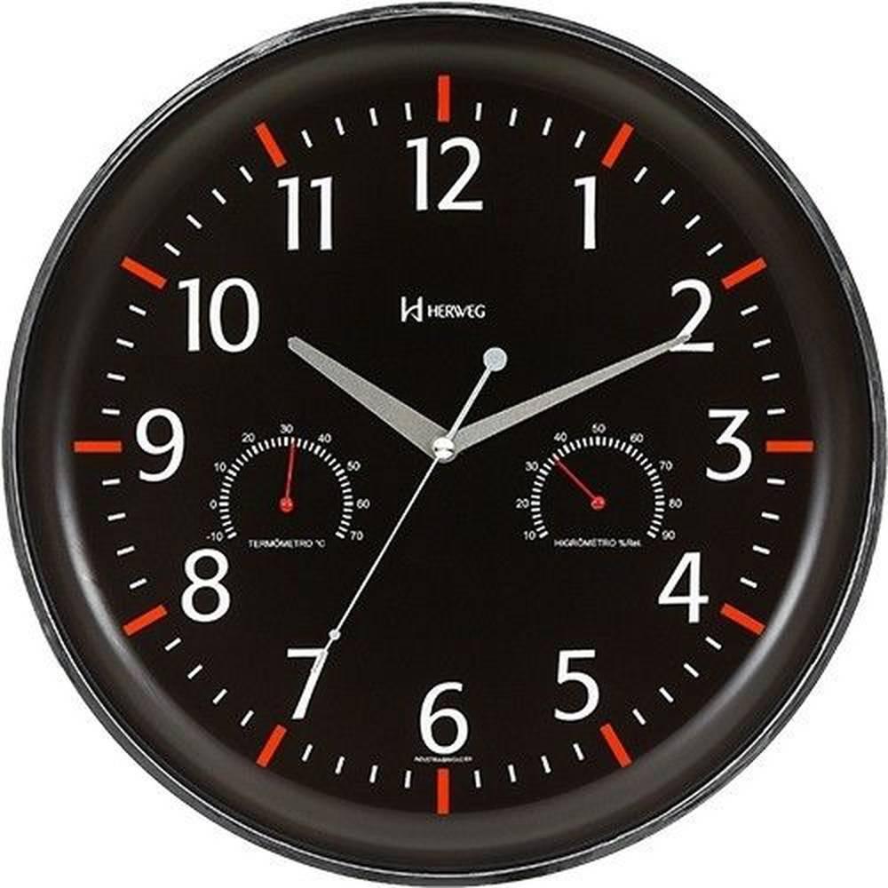 Relógio De Parede Sofisticado Termômetro E Higrômetro Redondo Preto Com Vermelho