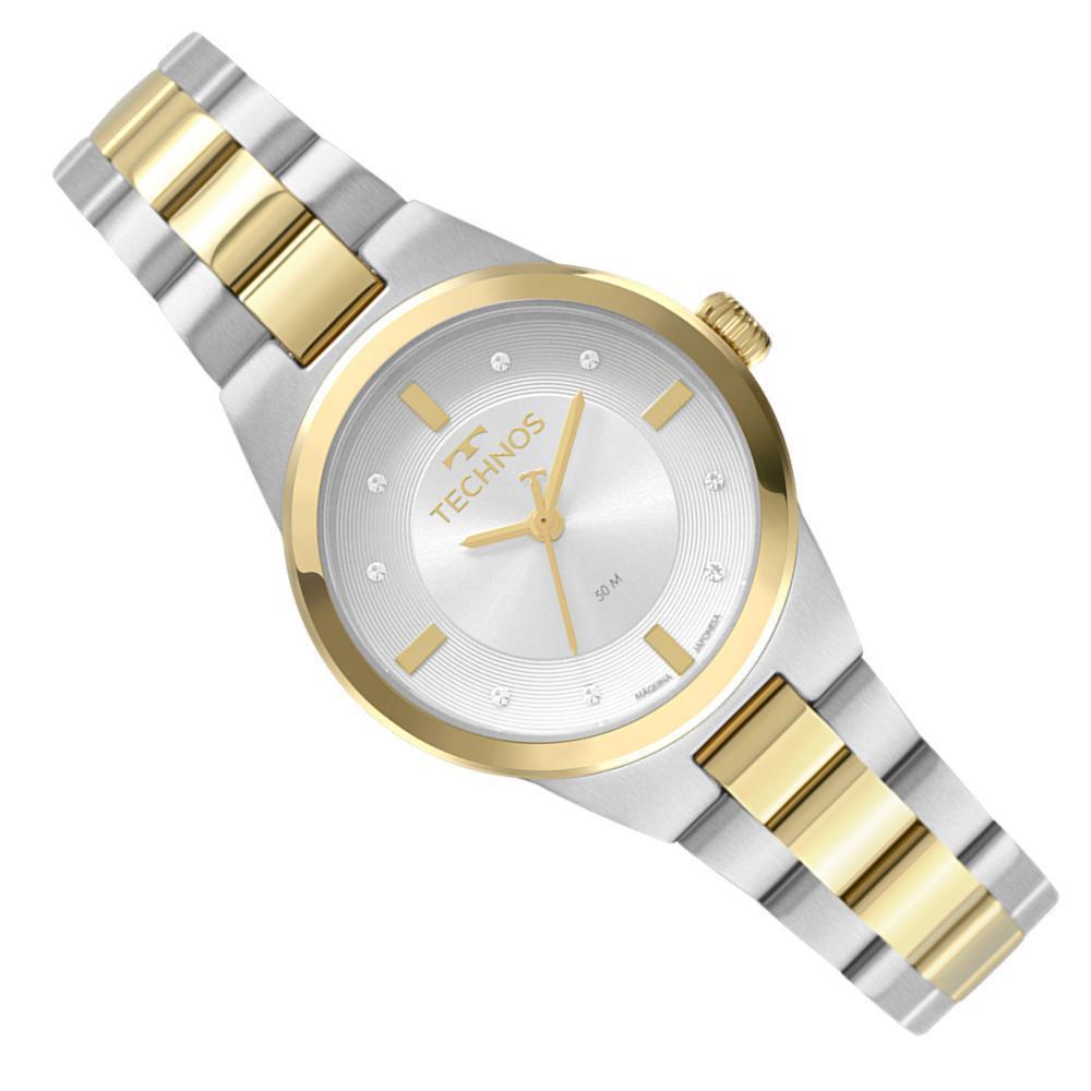 Relógio Feminino Prata Technos Pequeno Com Detalhes Dourado