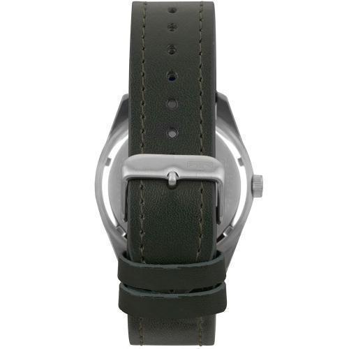 Relógio Masculino Prata Technos Pulseira Couro Verde Data