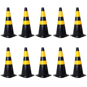 Kit com 10 Cones em PVC Rígido 75cm Preto e Amarelo