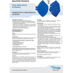 Kit com 20 Máscaras Descartáveis Pff2 N95 CA 38811 Sem Válvula Azul Plastcor