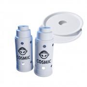 kit 02 Abafador Branco Grande  e 02 Prato Branco em Alumínio com Design Moderno e Minimalista - Cosmic
