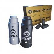 kit Carvão de Coco 1kg Longa Duração e 02 Abafador Branco/Preto Grande em Alumínio - Cosmic