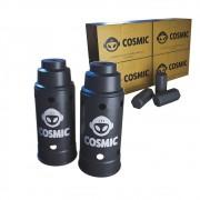 kit Carvão de Coco 1kg Longa Duração e 02 Abafador Preto Grande em Alumínio - Cosmic