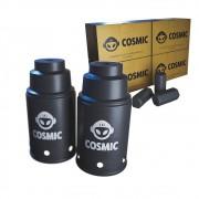 kit Carvão de Coco 1kg Longa Duração e 02 Abafador Preto Pequeno/Médio em Alumínio - Cosmic
