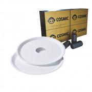 kit Carvão de Coco 1kg Longa Duração e 02 Prato Branco  em Alumínio - Cosmic
