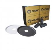 kit Carvão de Coco 1kg Longa Duração e 02 Prato Branco/Preto  em Alumínio - Cosmic