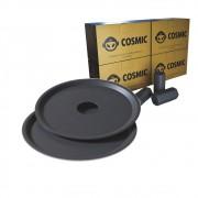 kit Carvão de Coco 1kg Longa Duração e 02 Prato Preto  em Alumínio - Cosmic