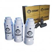 kit Carvão de Coco 1kg Longa Duração e 03 Abafador Branco Grande em Alumínio - Cosmic