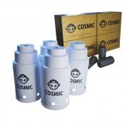 kit Carvão de Coco 1kg Longa Duração e 04 Abafador Branco Pequeno/Médio em Alumínio - Cosmic