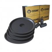 kit Carvão de Coco 1kg Longa Duração e 04 Prato Preto  em Alumínio - Cosmic