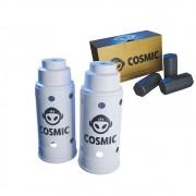 kit Carvão de Coco 250g Longa Duração e 02 Abafador Branco Grande em Alumínio - Cosmic