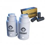 kit Carvão de Coco 250g Longa Duração e 02 Abafador Branco Pequeno/Médio em Alumínio - Cosmic