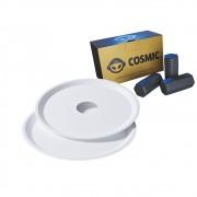 kit Carvão de Coco 250g Longa Duração e 02 Prato Branco  em Alumínio - Cosmic