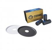 kit Carvão de Coco 250g Longa Duração e 02 Prato Branco/Preto  em Alumínio - Cosmic