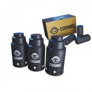 kit Carvão de Coco 250g Longa Duração e 03 Abafador Preto Pequeno/Médio em Alumínio - Cosmic