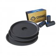 kit Carvão de Coco 250g Longa Duração e 03 Prato Preto  em Alumínio - Cosmic