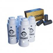 kit Carvão de Coco 250g Longa Duração e 04 Abafador Branco Grande em Alumínio - Cosmic