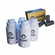 kit Carvão de Coco 250g Longa Duração e 04 Abafador Branco Pequeno/Médio em Alumínio - Cosmic