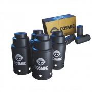 kit Carvão de Coco 250g Longa Duração e 04 Abafador Preto Pequeno/Médio em Alumínio - Cosmic