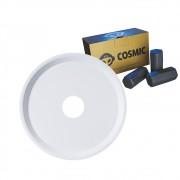 kit Carvão de Coco 250g Longa Duração e Prato Branco  em Alumínio - Cosmic